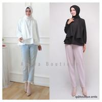 Baju Atasan Wanita Lengan Panjang Busui / Wings Blouse Hitam Putih