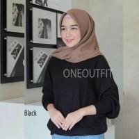 Baju Rajut Wanita Fashion Qanita Jumbo Bata, hitam, kuning bahan rajut