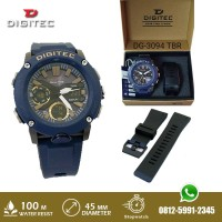 Jam Tangan Pria Digitec DG 3094 DG3094 Double Time Tali Rubber Navy