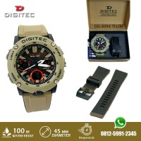 Jam Tangan Digitec DG 3094 DG3094 Double Time Tali Rubber Warna Khaki