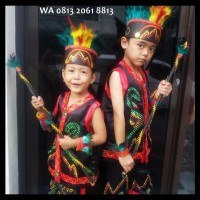Dayak SD Kls1-3 Lengkap   Baju Adat Kostum Anak Karnaval Parade Pawai