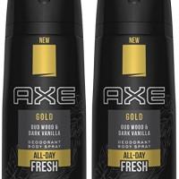 Axe Gold Oud Wood and Dark Vanilla Deodorant Body Spray 4.0 oz (Pack o