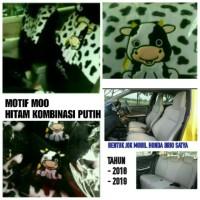 Sarung Jok Mobil Full Set All New Brio Satya 2018-2019 Motif Moo/Sapi