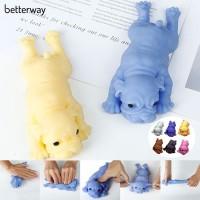 Mainan Squishy Bentuk Anjing Bulldog Bahan Silikon Lembut untuk
