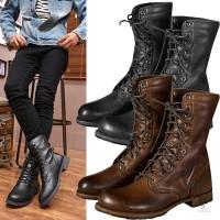 Sepatu Ankle Boots Model Punk Retro Bahan Kulit untuk Pria