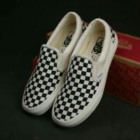 Sepatu Vans Slip On Checkerboard Catur DT Slipon Stockholm Black White