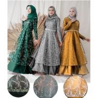 gaun pesta muslim/gamis kondangan brokat/maxi dres remaja/baju ngaji