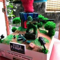 Diorama miniatur PUBG Air Drop AWM
