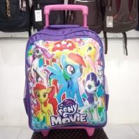 Tas Dorong Troli Koper Anak Perempuan Motif Little Pony Unicorn Ungu