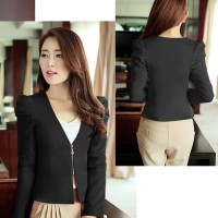 BLAZER SIMPLE RESLETING I BLAZER FASHION WANITA - Hitam