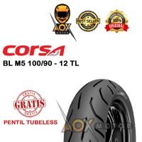 Ban luar motor matic 100/90-12 CORSA PLATINUM M5 tbl,GRATIS pentil tbl