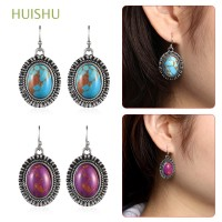 Ethnic Jewelry Hook Ear Stud Handmade Boho Blue Turquoise Earrings