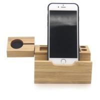 Aksesoris hp Natural Bamboo USB Charging Dock Stand Holder Bracke