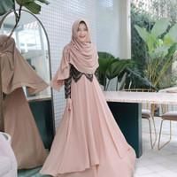 Setelan Baju Gamis Maxy wanita Muslimah Kinara Syari Ceruty mix Renda