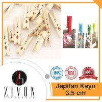 Jepitan KAYU POLOS / WARNA 3.5cm Foto Baju Besar Wooden Clip 3.5cm TA9