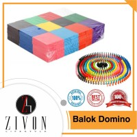 Balok Domino 120 Buah Chain Reaction Warna Warni Kayu Mainan Anak QM2