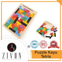 Mainan Anak Puzzle Kayu Russian Block Wood Intellegence Tetris QM3