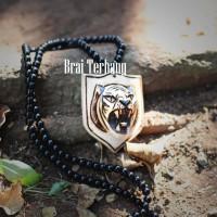 kalung batu obsidian bandul ukir macan. kalung kesehatan batu obsidian