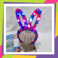 814 Bando kelinci motif pelangi lampu LED / Bandana Headband anak