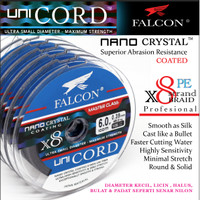 Senar Pancing PE X8 Falcon Uni Cord Nano Crystal Coated 100M Connectin