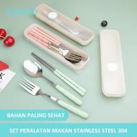 ecentio Set Alat Makan Sendok Garpu Sumpit 410 Stainless Steel