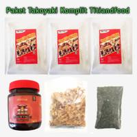 TITIANDFOOD Paket Takoyaki Komplit tepung katsuobushi saus dan aonori