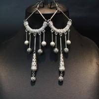 Anting Etnik Aplikasi Bulat Silver & Ring - Handmade