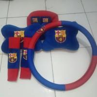 Paket Bantal Mobil Headrest Car Set 3 In1 +Sarung Stir Mobil Barcelona