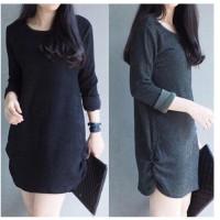 Dress Fashion Wanita Baju Pesta Jalan Hangout Polos Minimalis Impor