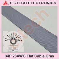 1 Meter 34P 34Pin 34 P Pin Flat Cable Gray Kabel Data Pita Abu-abu
