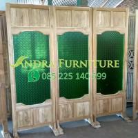 sketsel minimalis kaca terbaru kayu jati,penyekat ruangan kayu jati