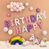 SET Balon Foil Birthday Unicorn Rainbow | Dekorasi Ulang Tahun