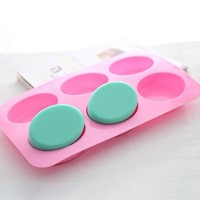 6-Oval e Mold Oval Soap Mould Chocolate Muffin Cupcake Backing Pan