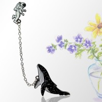 The New Cosmic Space Whales Cartoon Badge Metal Alloy Clothing