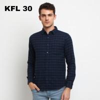 KFL baju kemeja flanel navy biru dongker casual pria lengan panjang