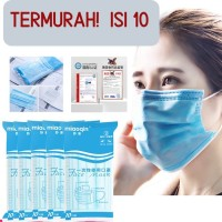 Masker 3ply 3 ply bedah medis surgical mask Disposable isi 10 Miaoqin