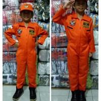 Baju/kostum/stelan profesi pilot pesawat tempur anak size 1-4 (tk)