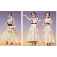 Kostum Frozen 2 Anna Dua Dress Baju Princess Putri Anak Rompi Lepas