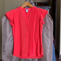 Atasan blouse kancing wanita, H&M, size 32, warna merah