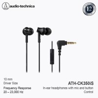 Audio-Technica ATH-CK350iS Earphone with Mic - Black