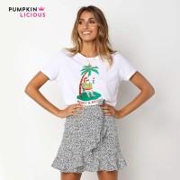 Pumpkin Beach Santa Graphic T Shirt kaos atasan wanita tshirt katun