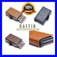 Dompet Kartu RFID Protection PU leather Dual Deck Simple Kecil Mewah - Hitam