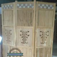 Sketsel Jati Ukir Bambu - Pembatas Ruangan Partisi - Mentahan