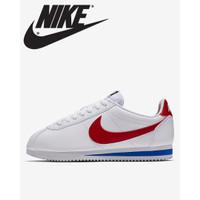 Sepatu Nike Cortez Original Pria dan Wanita Putih List Merah