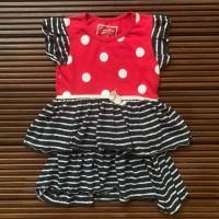 Cherokee Baju Anak Cewek Merah Hitam Garis Pokadot-Size 3 Tahun