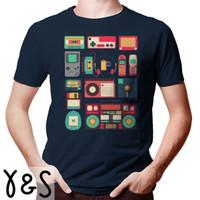 Kaos graphic T-shirt Unisex Retro Tech 90s - Biru Navy, L