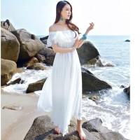 DRESS PUTIH PANJANG | DRESS SABRINA DEWASA | BAJU PANTAI WANITA