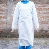 Apron Disposable Full Lengan Panjang Biru - Putih