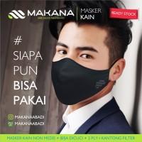 Masker Kain Makana Dewasa Hitam Elite (Full hitam)