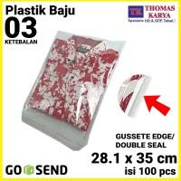 Plastik OPP LEM TIPIS 28.1x35 cm DOUBLE SEAL Packng Baju Kaos Garment